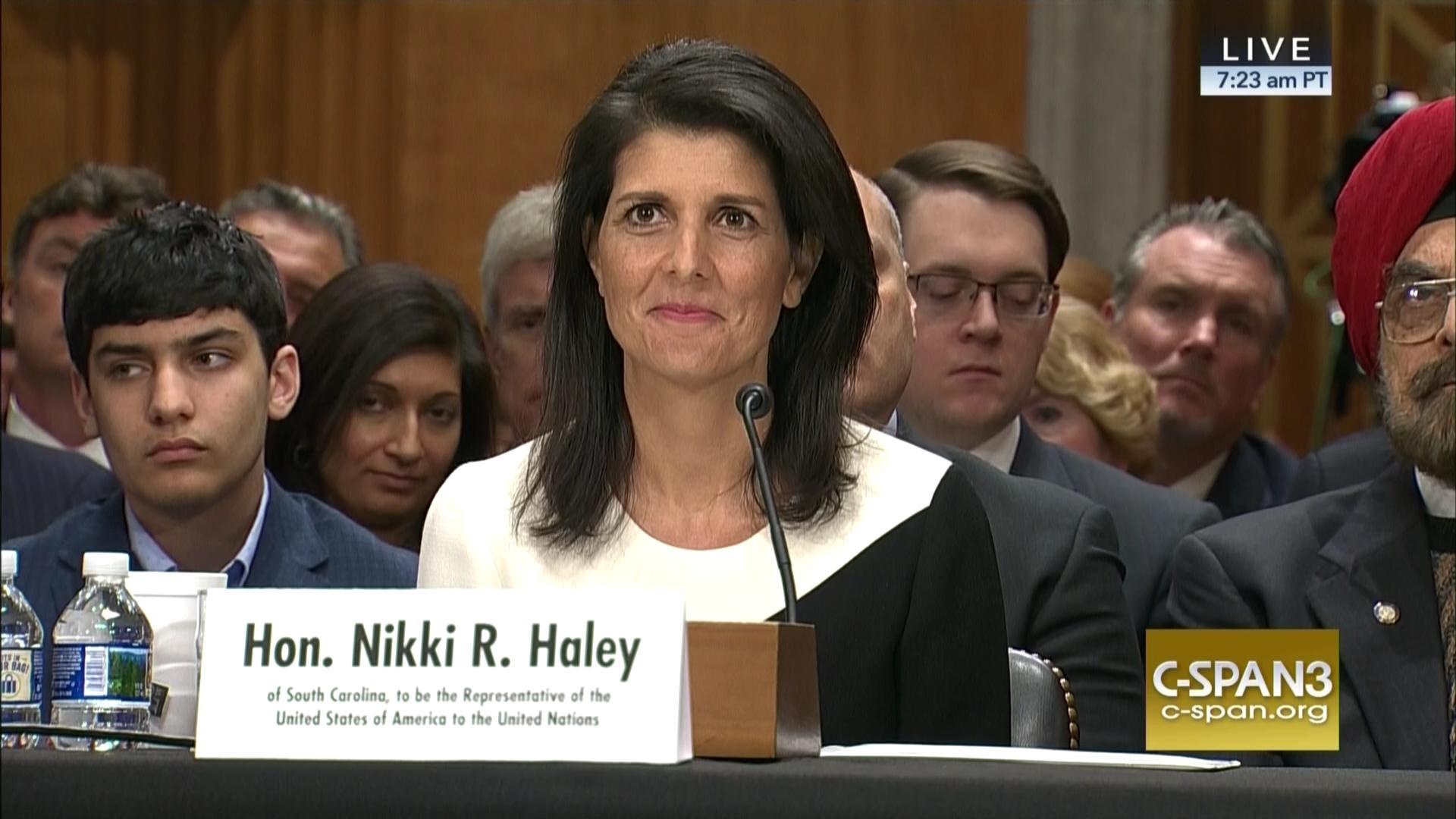 UN Ambassador Nominee Governor Nikki Haley Testifies Confirmation ...