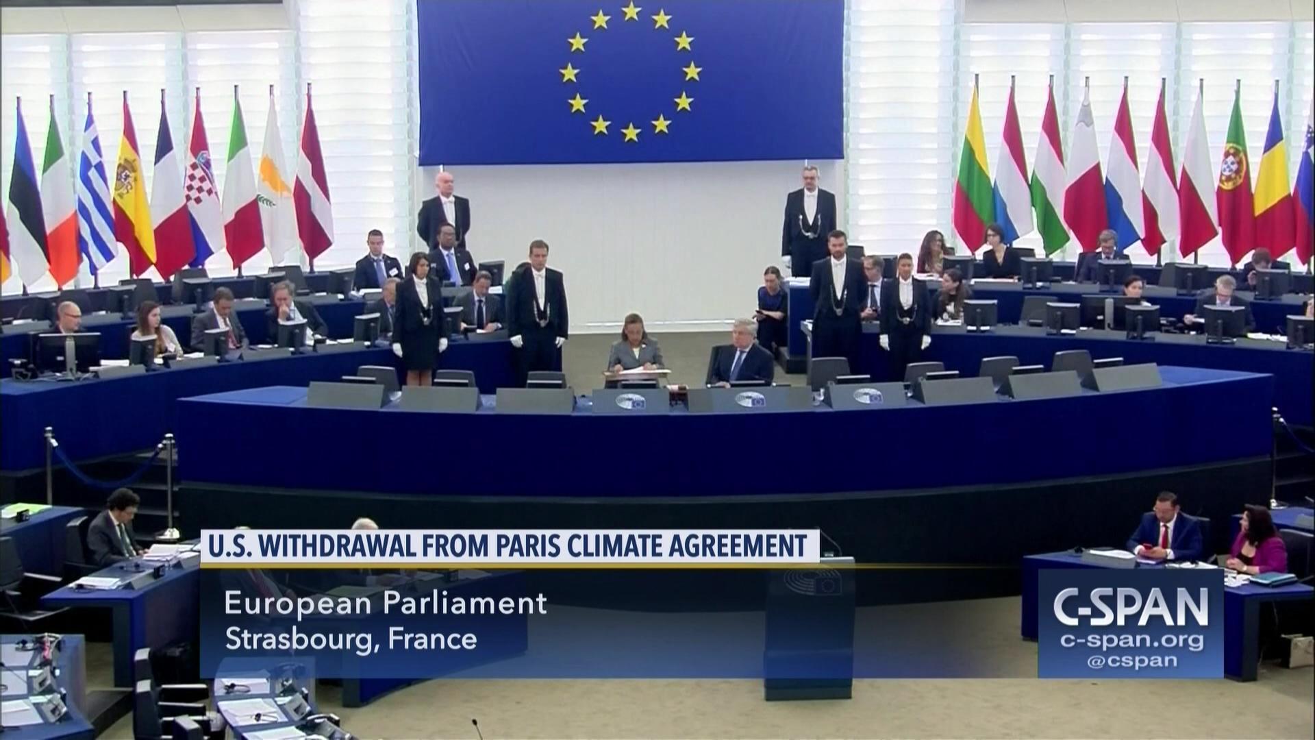 European Parliament Debate US Withdrawal Paris Climate Agreement ...