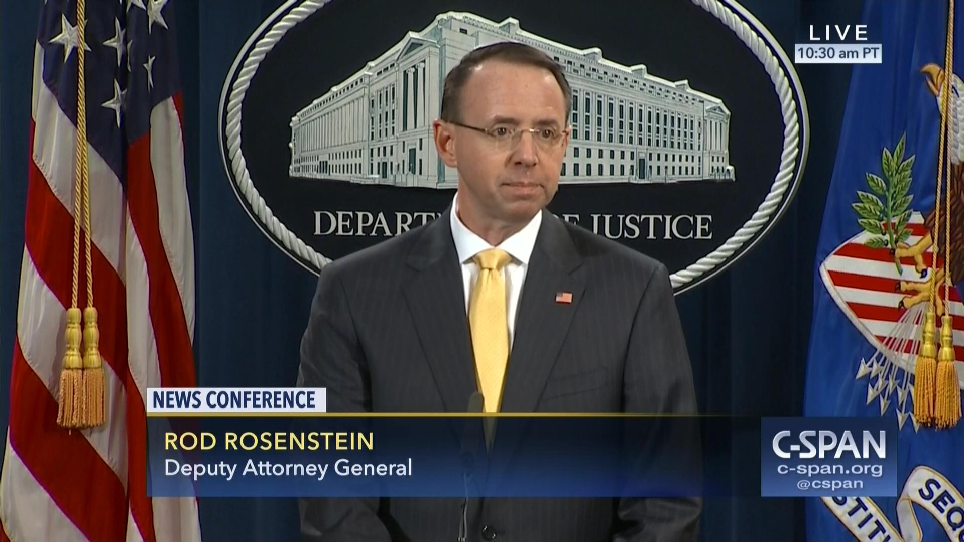Deputy Attorney General Rod Rosenstein Announces Indictment Russian ...