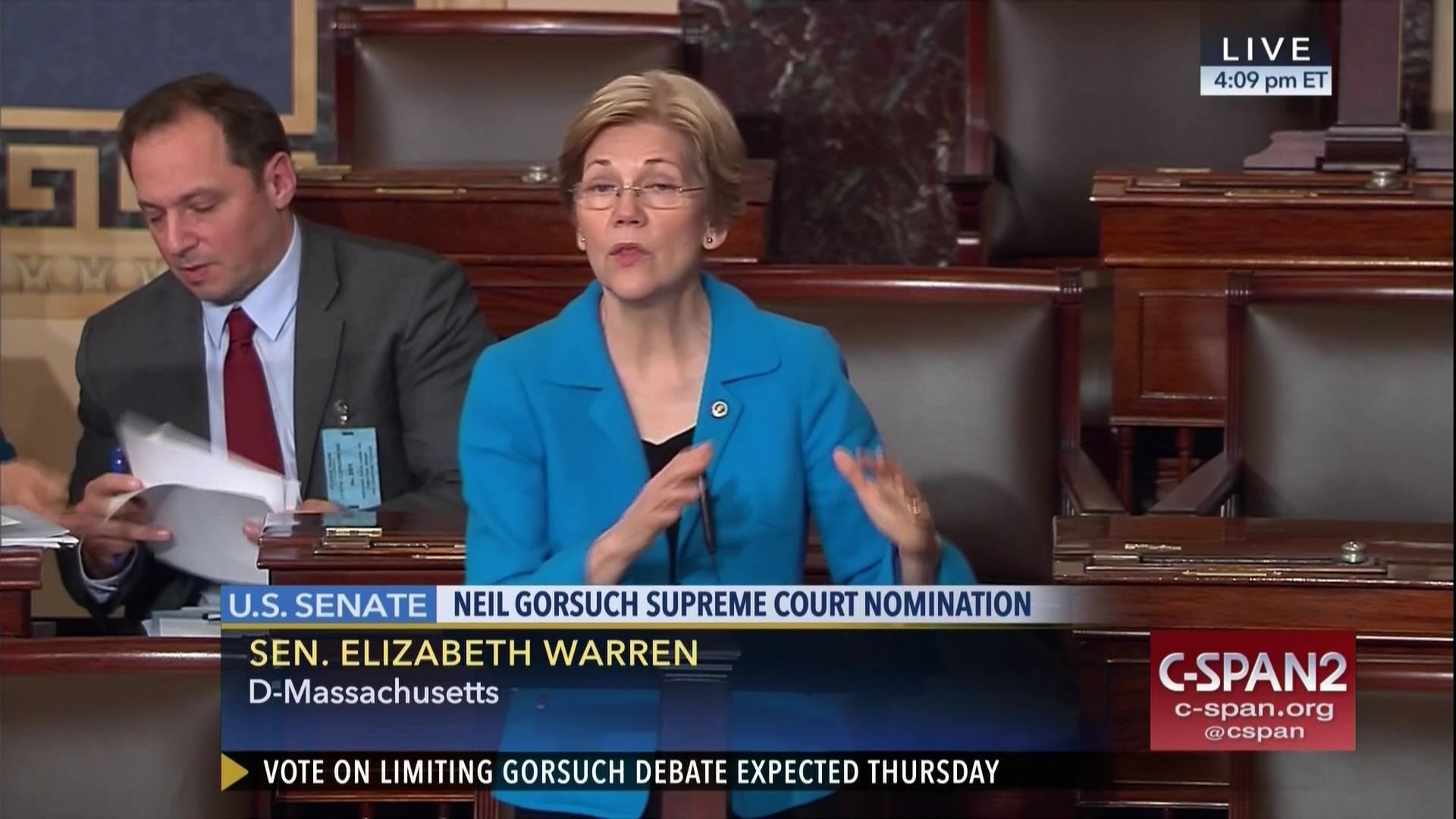 Sen  Elizabeth Warren on Judge Neil Gorsuch