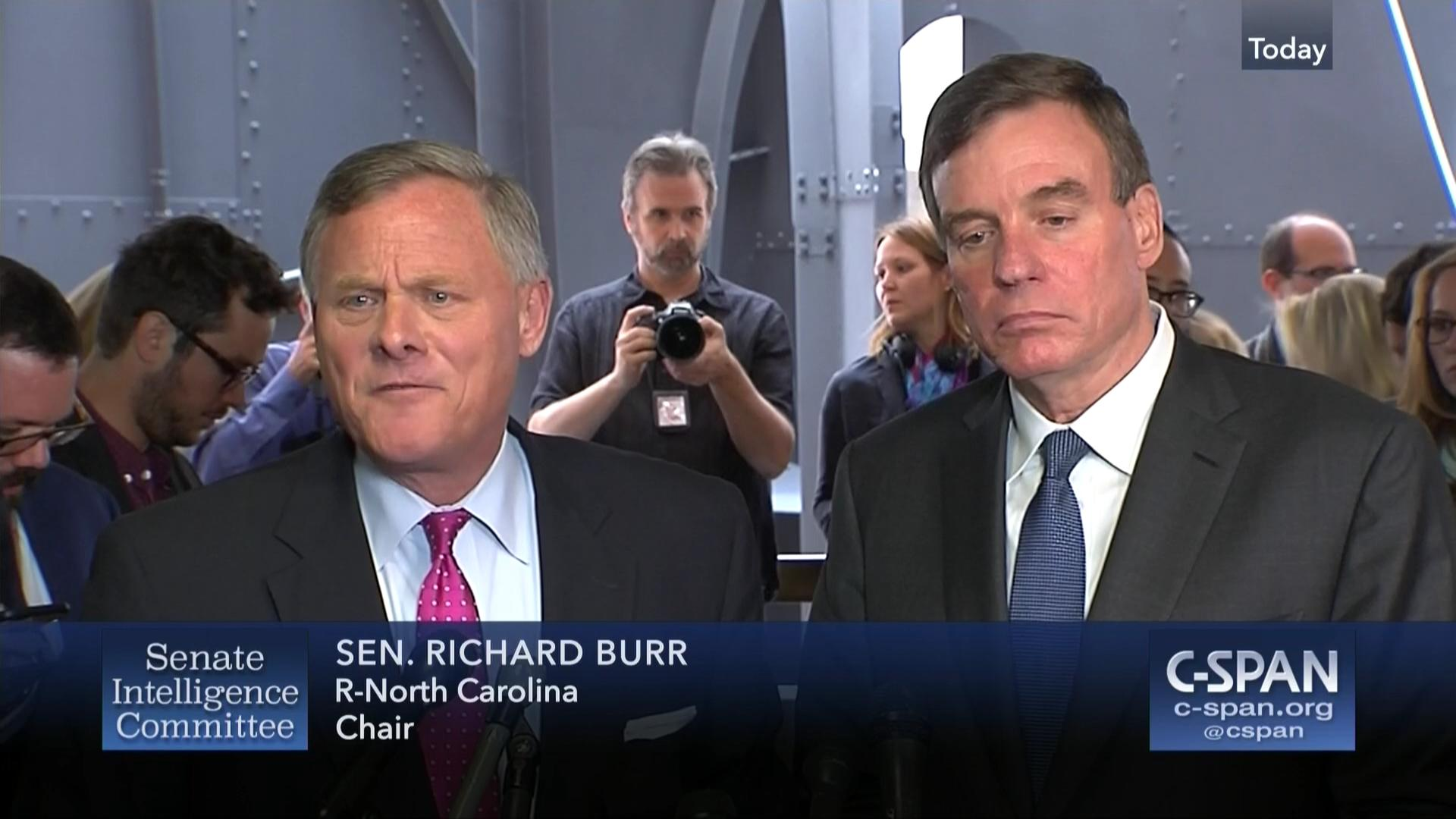 Image result for PHOTOS OF BURR AND WARNER ON SENATE INTEL COMMITTEE