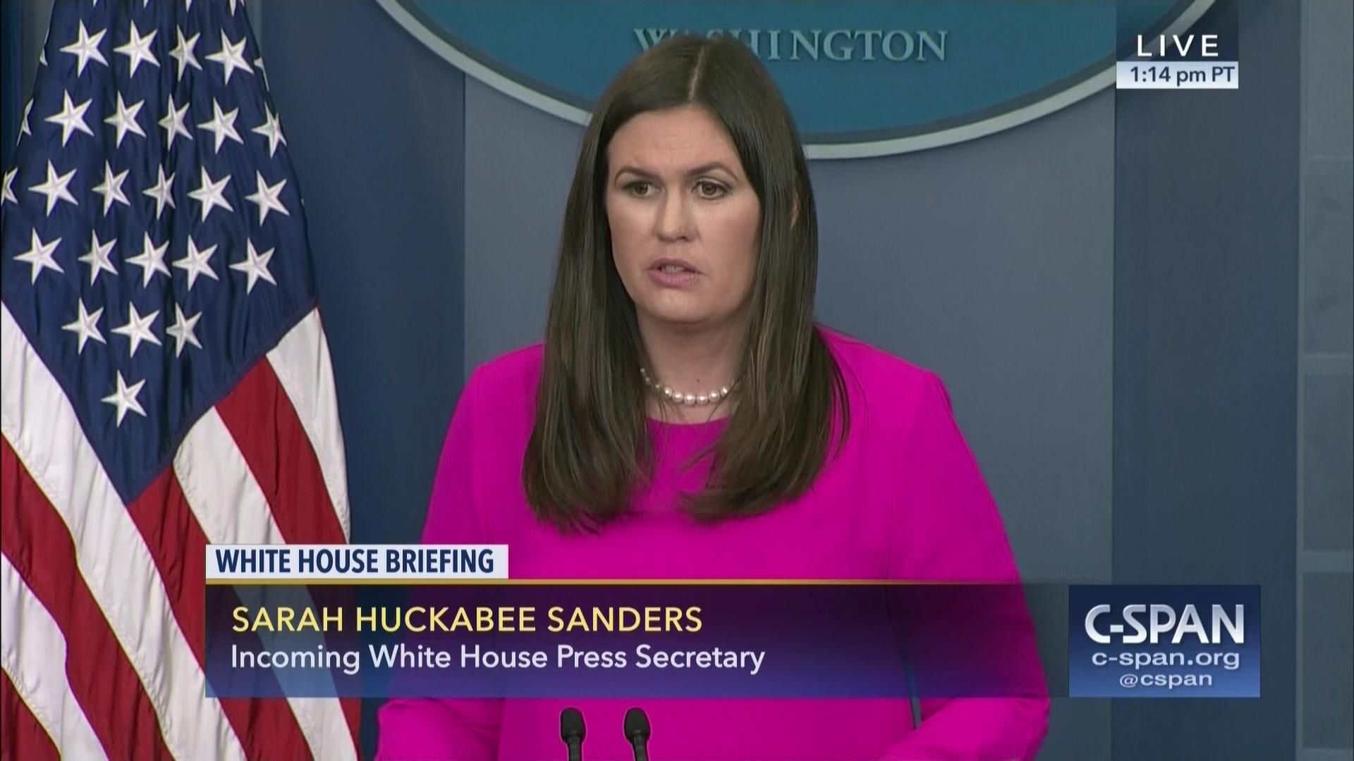 Sarah Huckabee Sanders Briefs Anthony Scaramucci Resignation, Jul ...