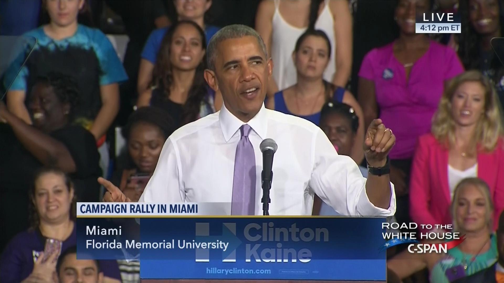 President Obama Campaigns Hillary Clinton Miami Florida Oct 20 2016 – Planned Parenthood Miami Gardens