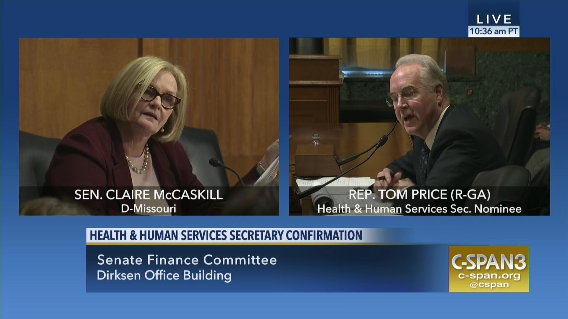 Experts Trumpcare Places Autism >> Sen Mccaskill Questions Rep Price On Medicaid Block Grants C