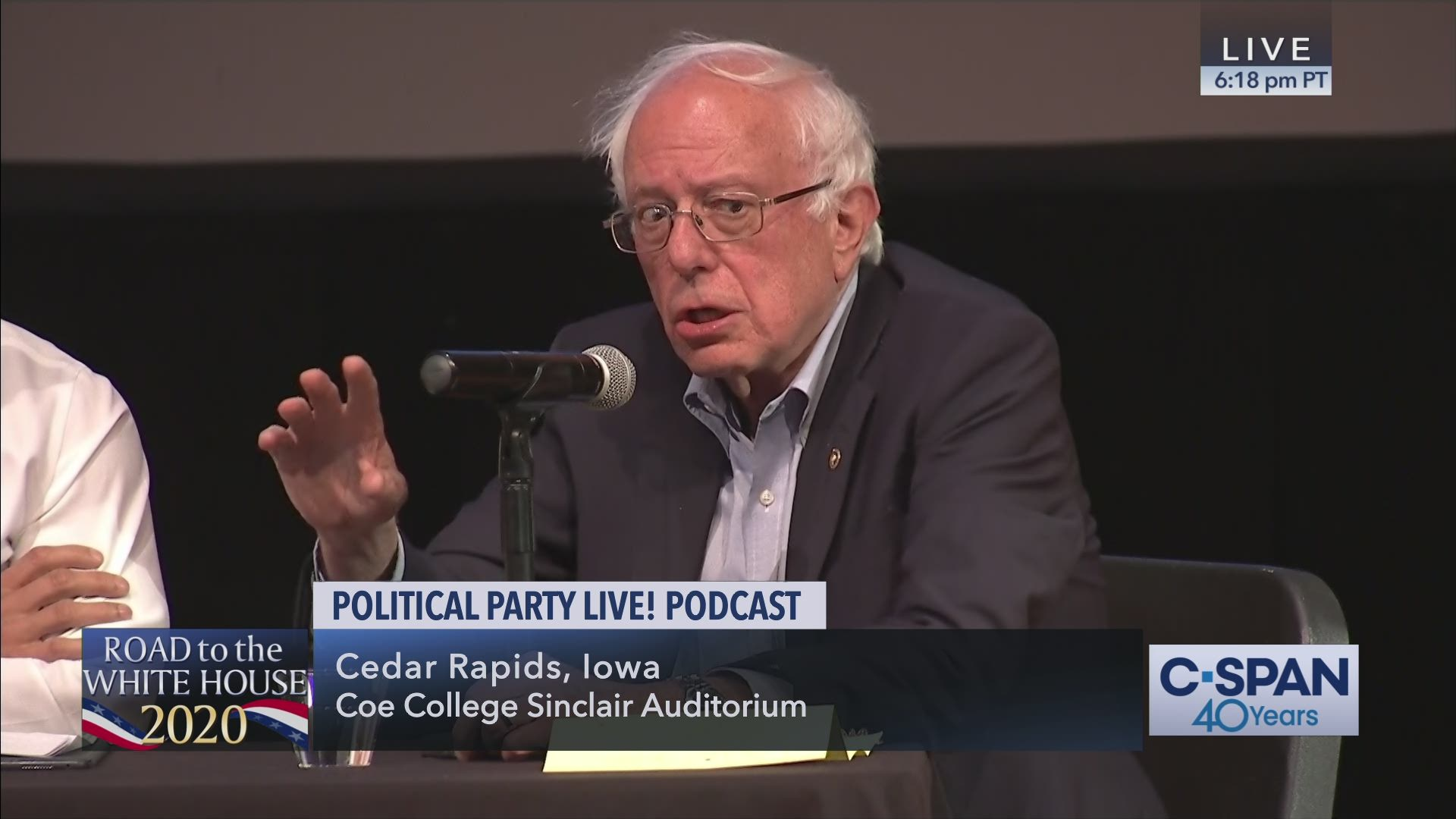 Best Podcast Hosting 2020 Senator Bernie Sanders at Political Party Live! Podcast in Iowa
