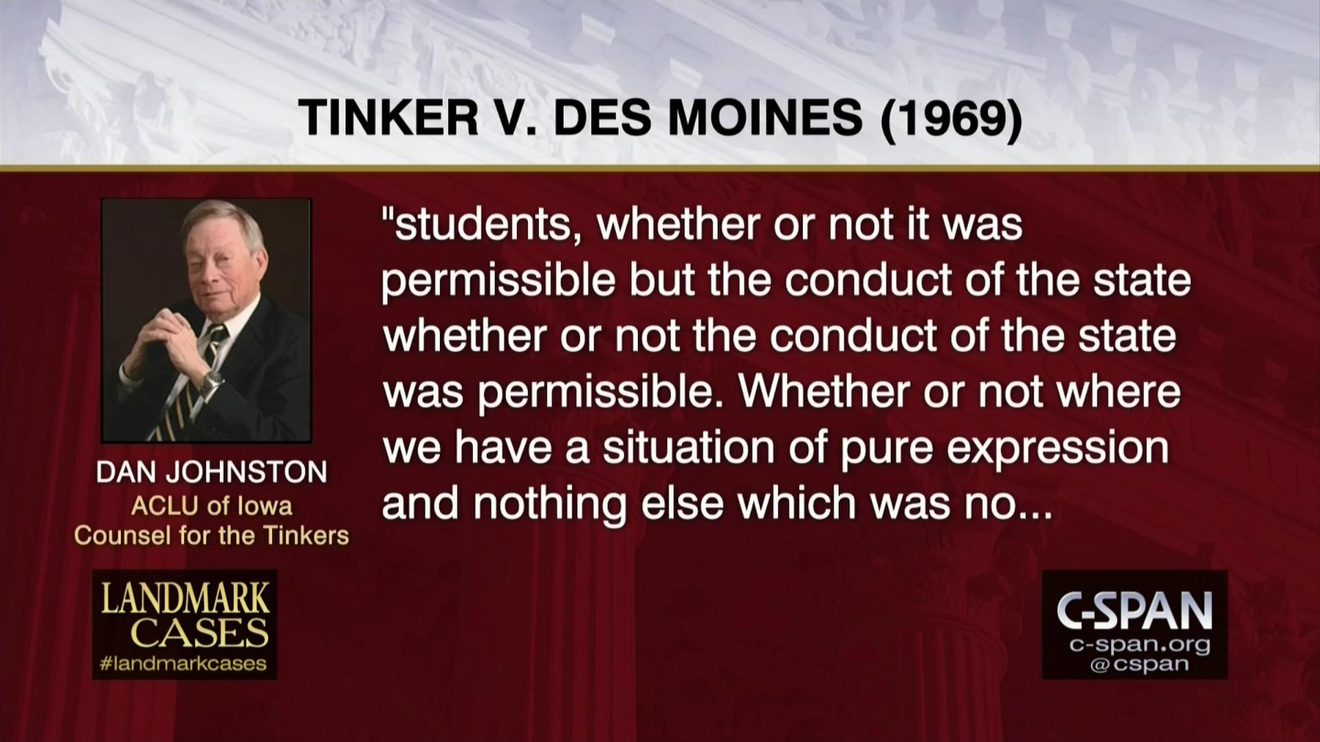 Tinker v  Des Moines- Arguments for the Tinkers