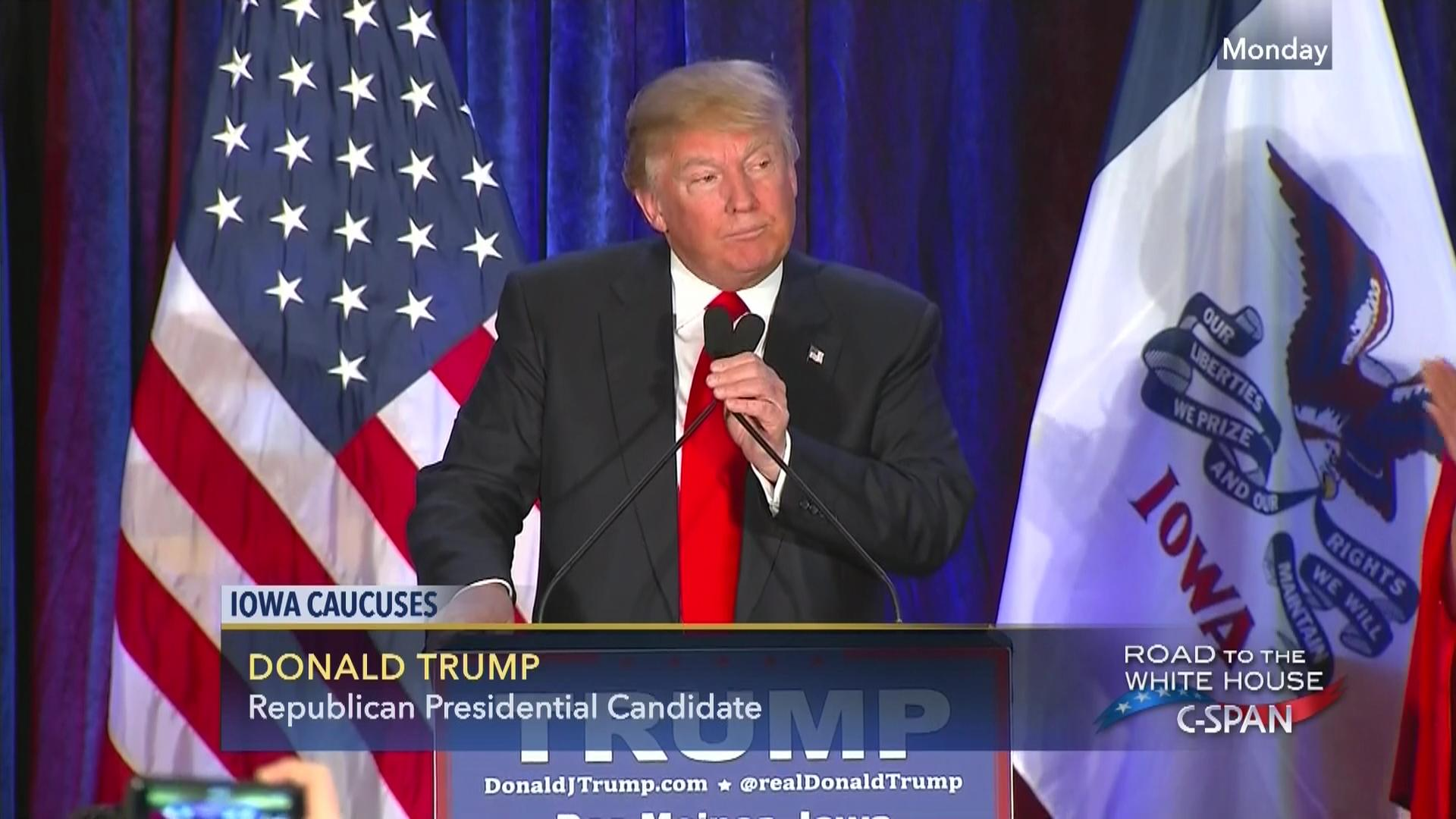 Donald Trump Caucus Night Speech   Video   C SPAN org C Span
