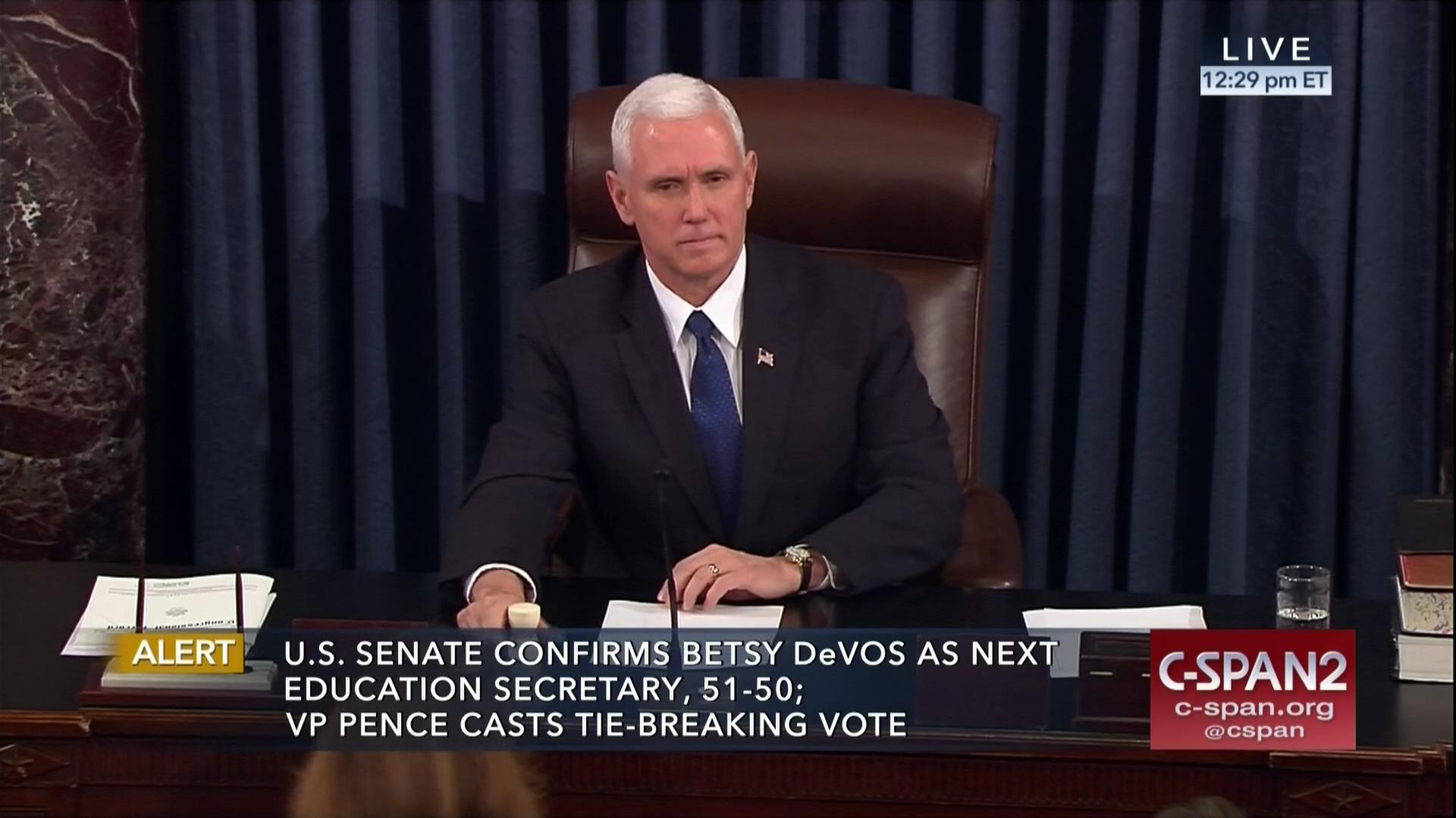 Devos Says Federal Idea Mandates Piled >> Vice President Casts Tie Breaking Vote To Confirm Betsy Devos C
