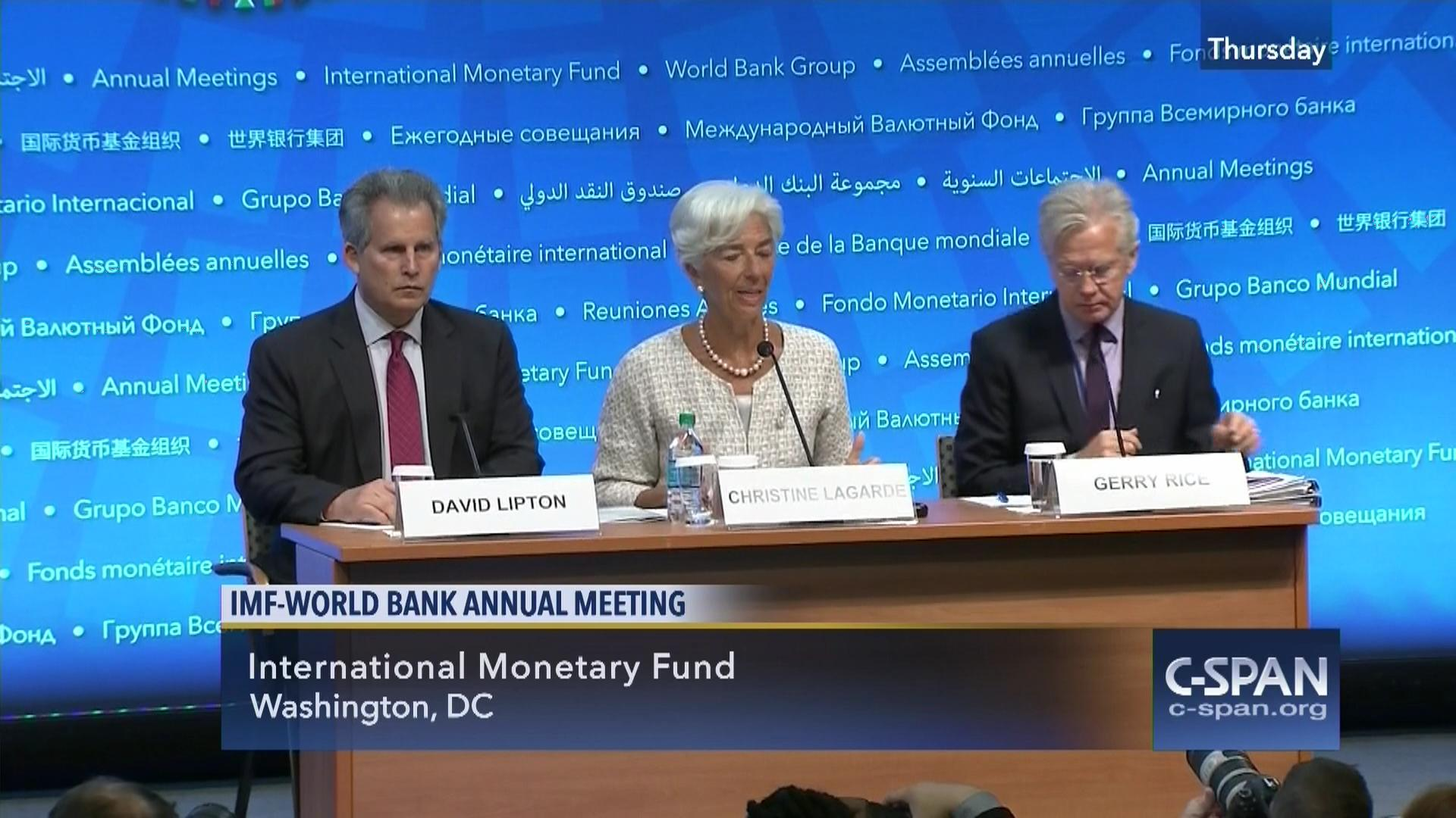 Christine lagarde jim yong kim hold news conference oct 6 2016 christine lagarde jim yong kim hold news conference oct 6 2016 c span sciox Images