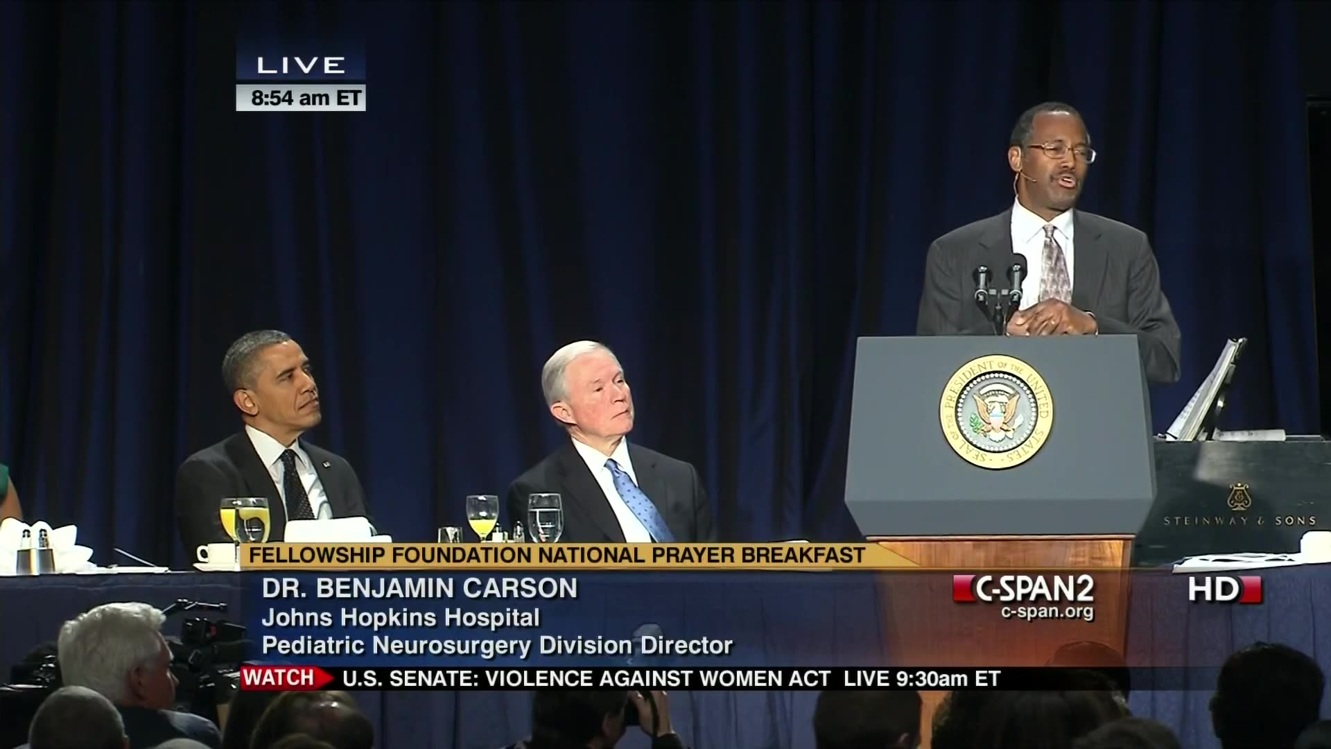 Dr  Benjamin Carson at National Prayer Breakfast, speaks about dangers of  our debt