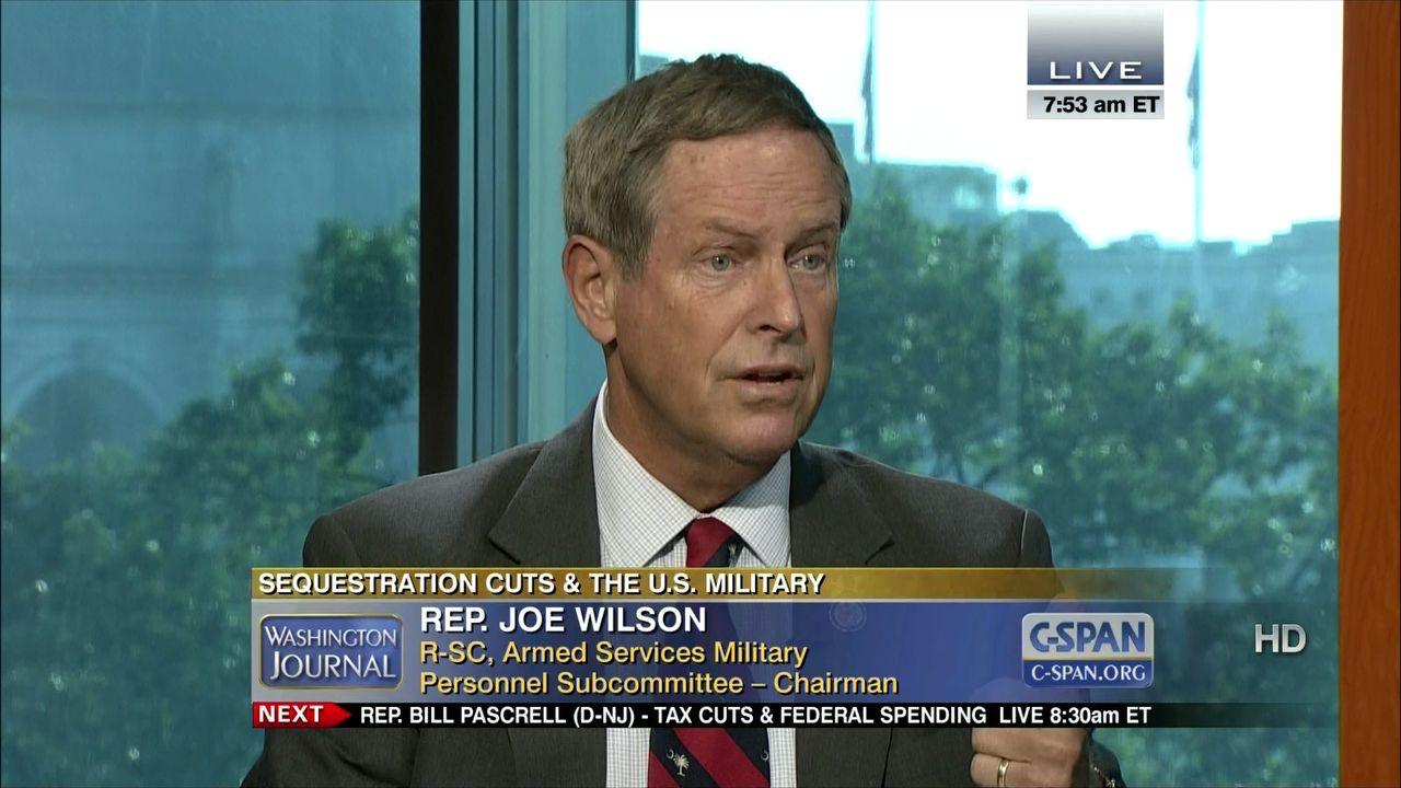 Representative Joe Wilson On Sequestration C Span Org Wilson — who had refused on the house floor today to apologize again one thing to remember here: washington journal