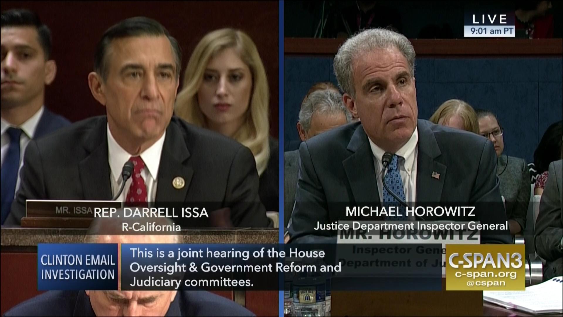 Rep  Issa Questions IG Michael Horowitz