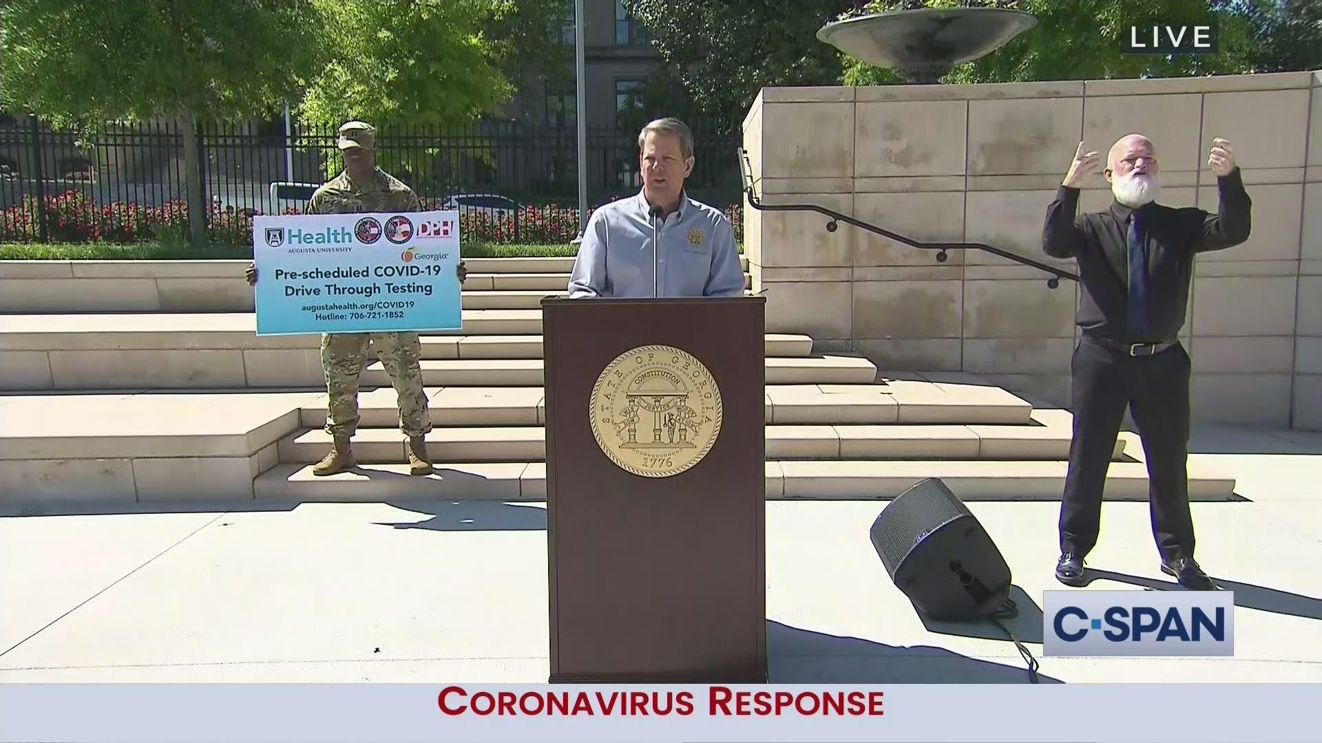 Georgia Governor Kemp Coronavirus News