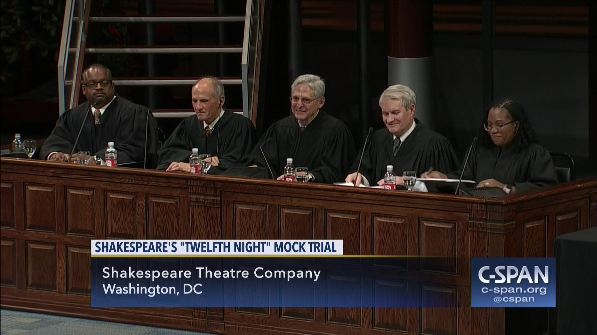 ruth bader ginsburg presides shakespeare theatre company mock trial