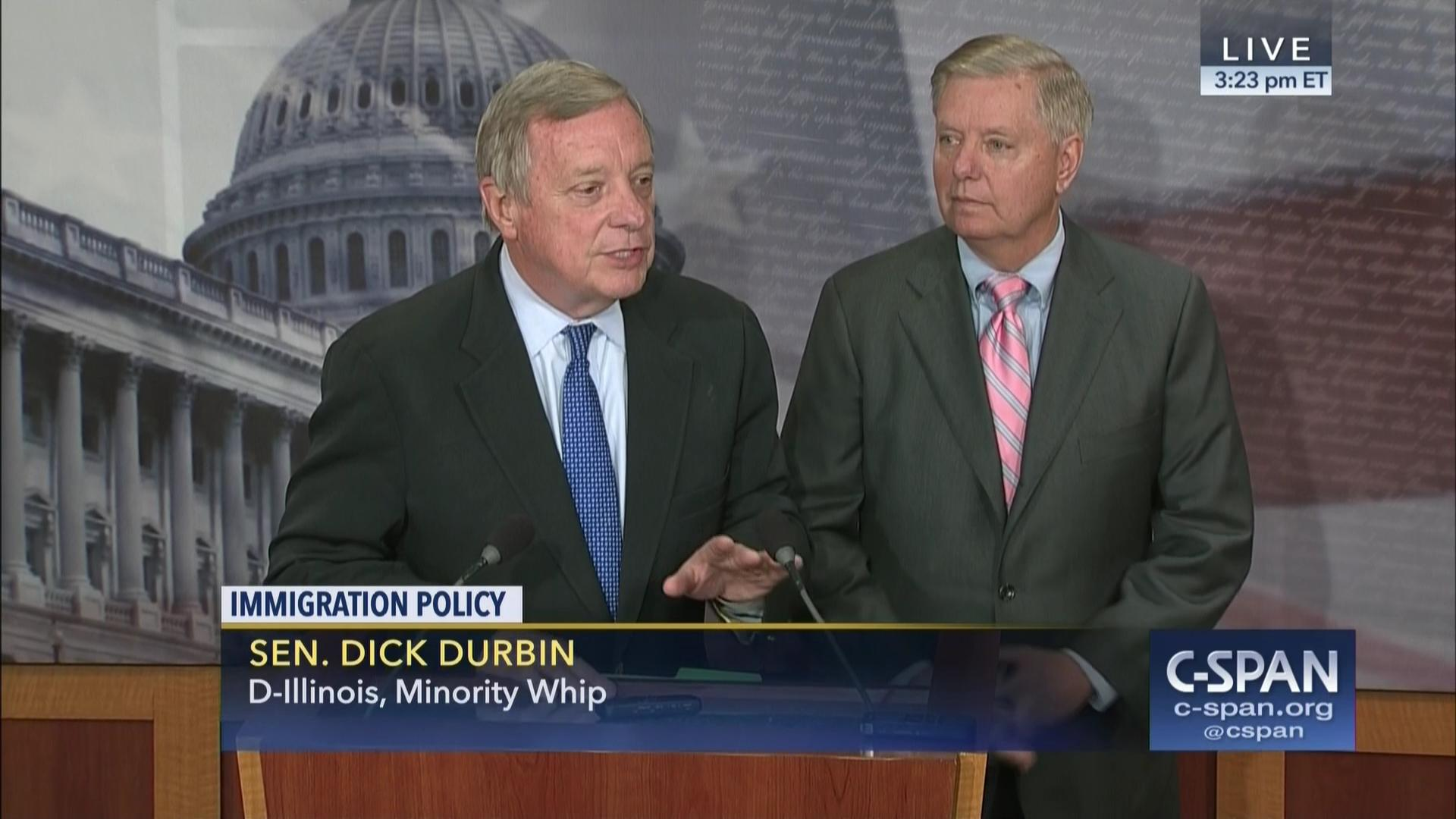 Image result for photos of president trump in meeting with graham and durbin