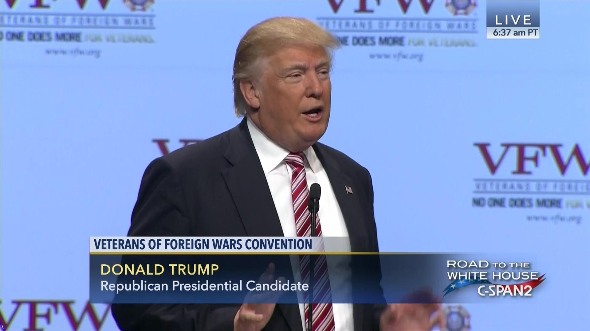 Image result for photos of trump speaking to veterans