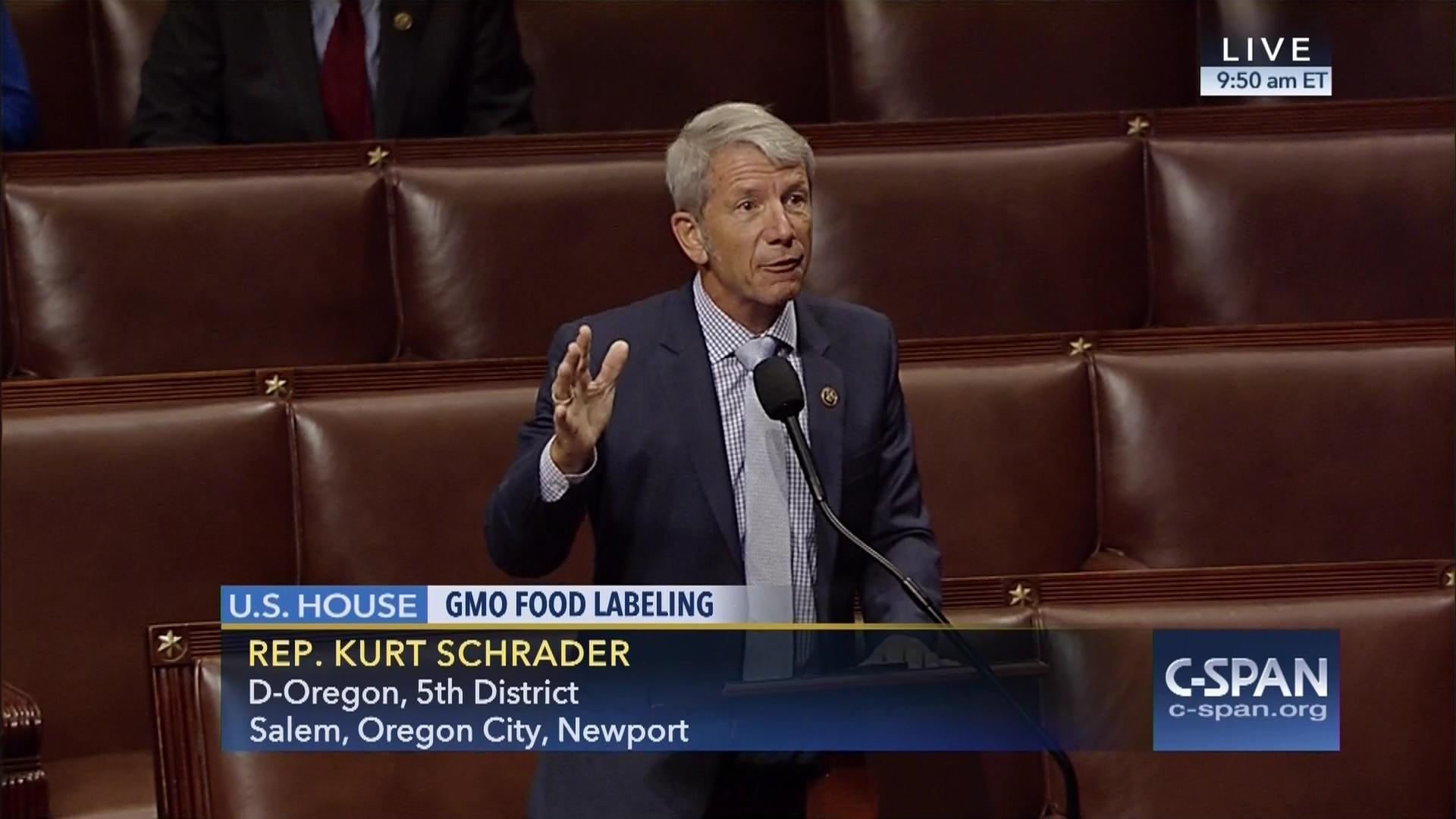 Rep  Kurt Schrader speaks in FAVOR of DENYING Americans the right to know  by supporting the DARK Act EXTREME during the House Session on July 14, 2016