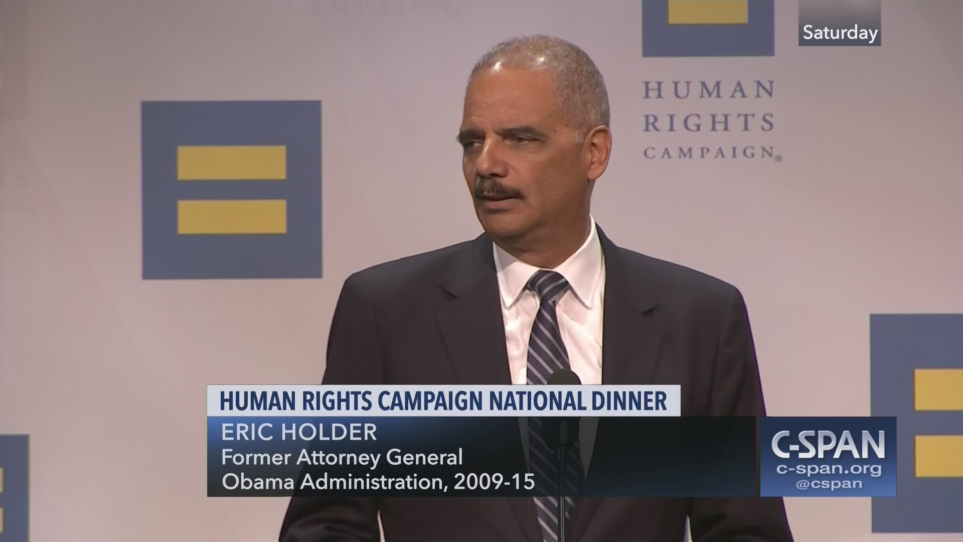 Human Rights Campaign Dinner, Eric Holder and Anne Hathaway