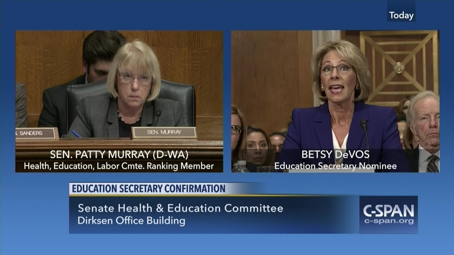 Betsy Devos Nomination Chilling >> Murray Questions Devos On Public Education And Conflicts Of Interest