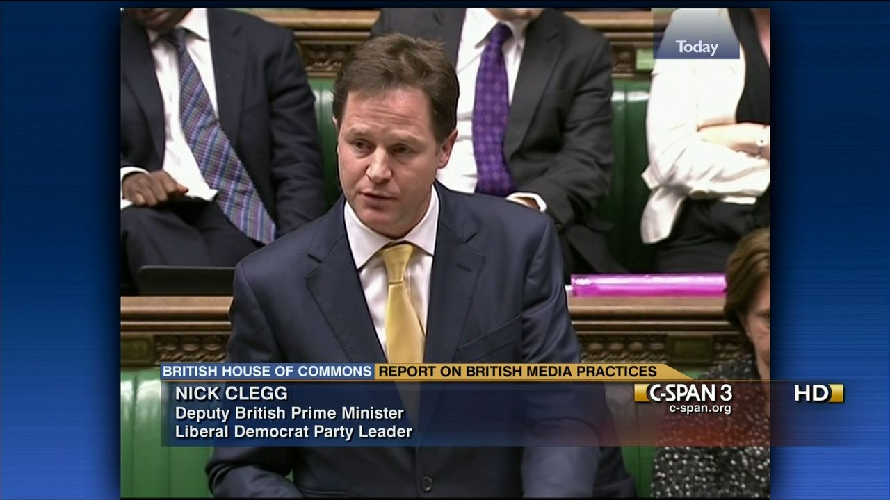 Deputy Prime Minister Nick Clegg on Leveson Inquiry Report
