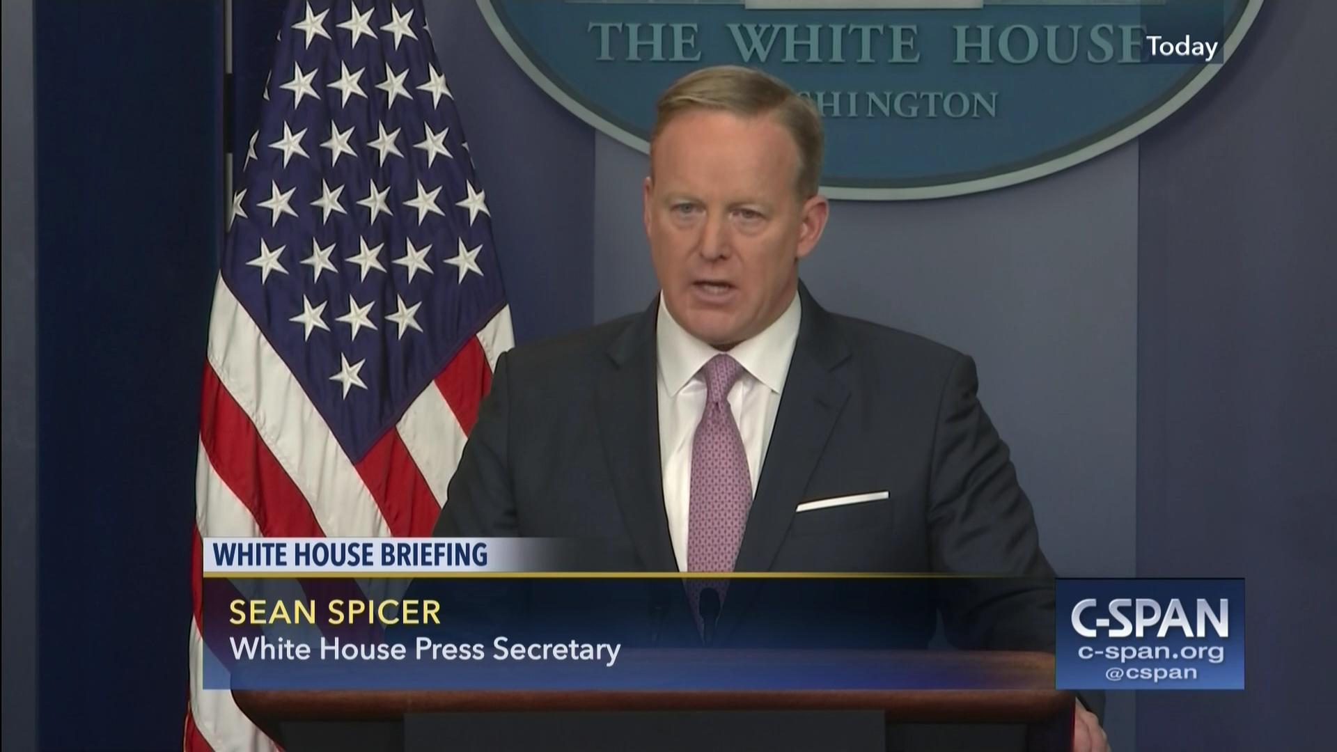 sean spicer holds first daily briefing, jan 23 2017 | c-span