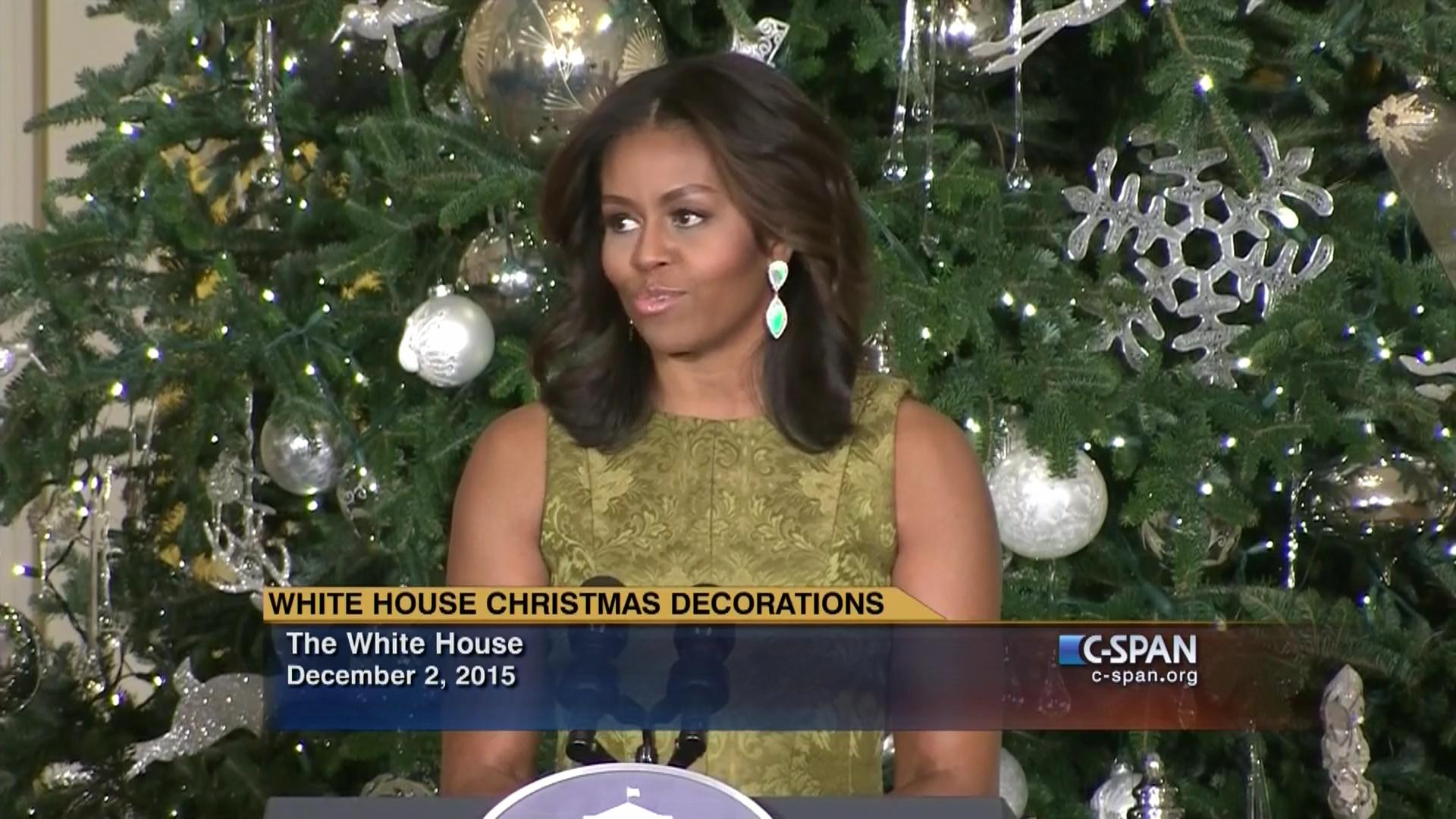 Lady Michelle Obama Remarks Christmas Decorations Dec 2 2015 C