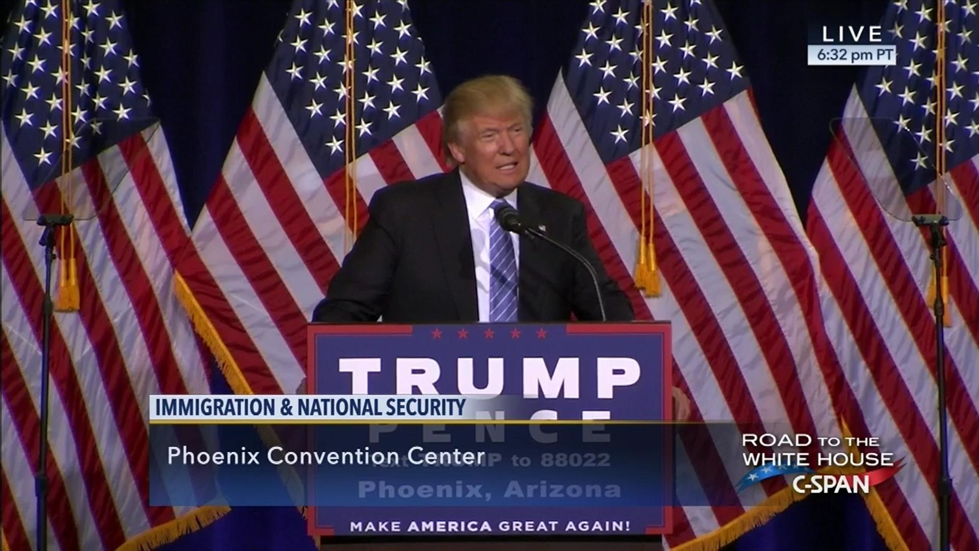 Donald Trump Delivers Immigration Policy Address, Aug 31 2016  Cspan