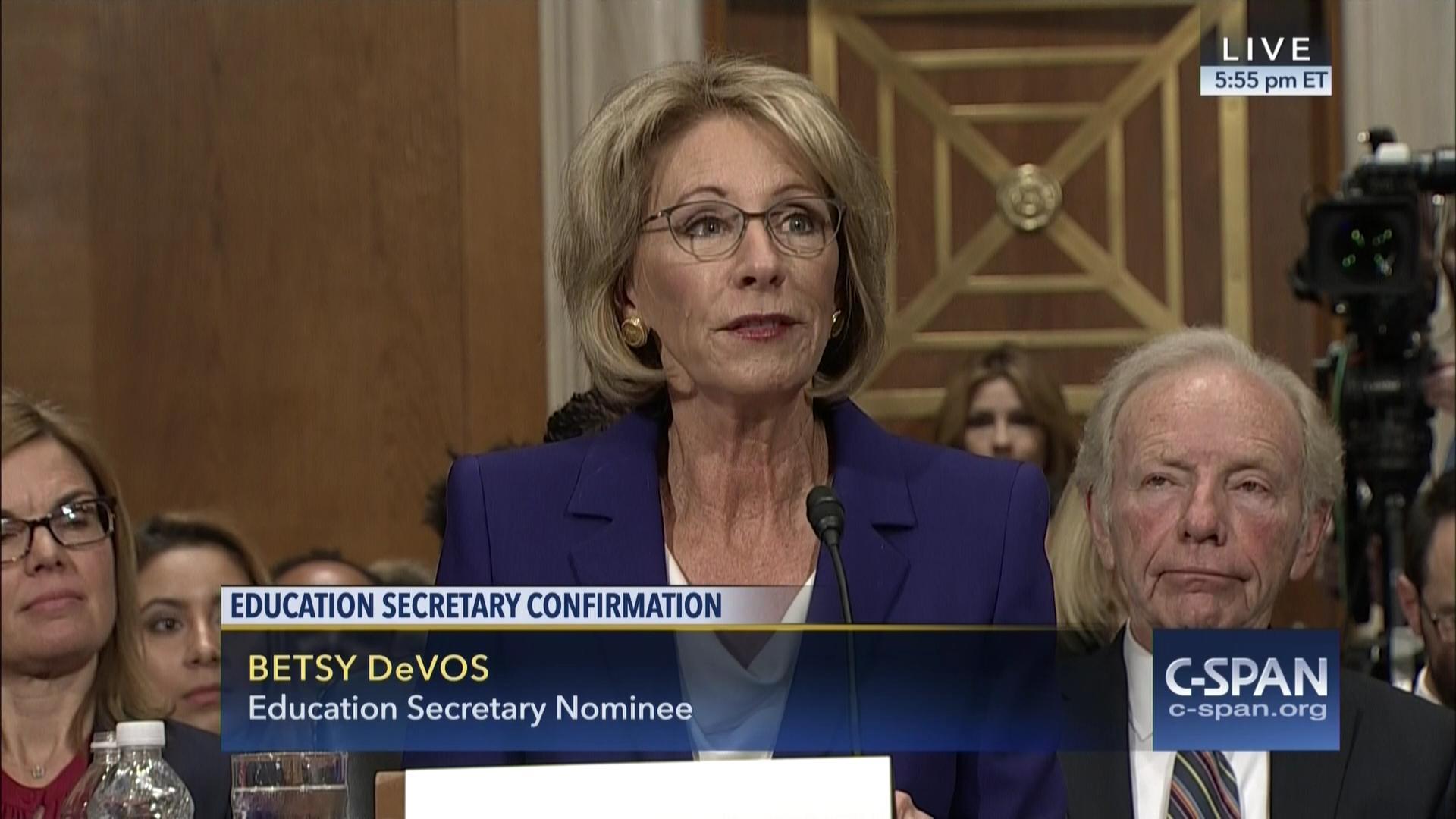 Education secretary nominee betsy devos testifies confirmation hearing