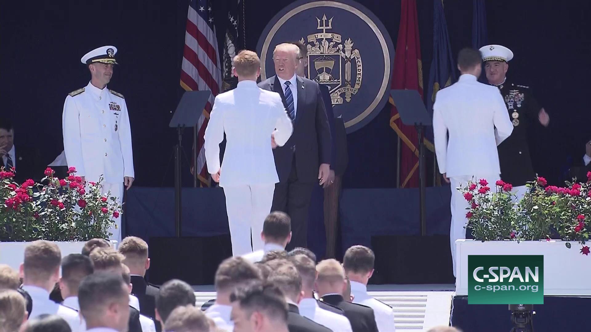 Trump congratulates Naval Academy graduates