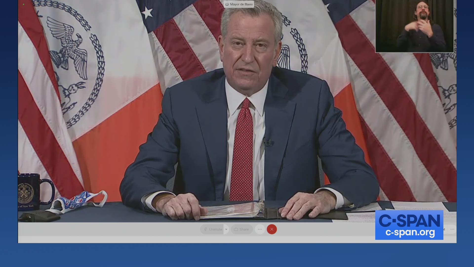 "New York City Mayor Bill de Blasio: ""Goodbye to the Trump organization."""