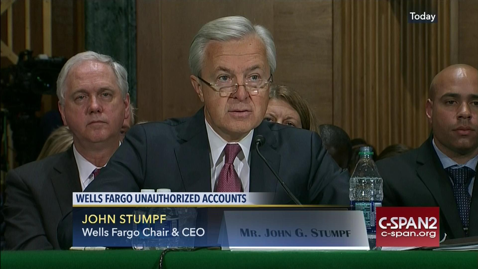 ceo john stumpf testifies unauthorized wells fargo accounts | c