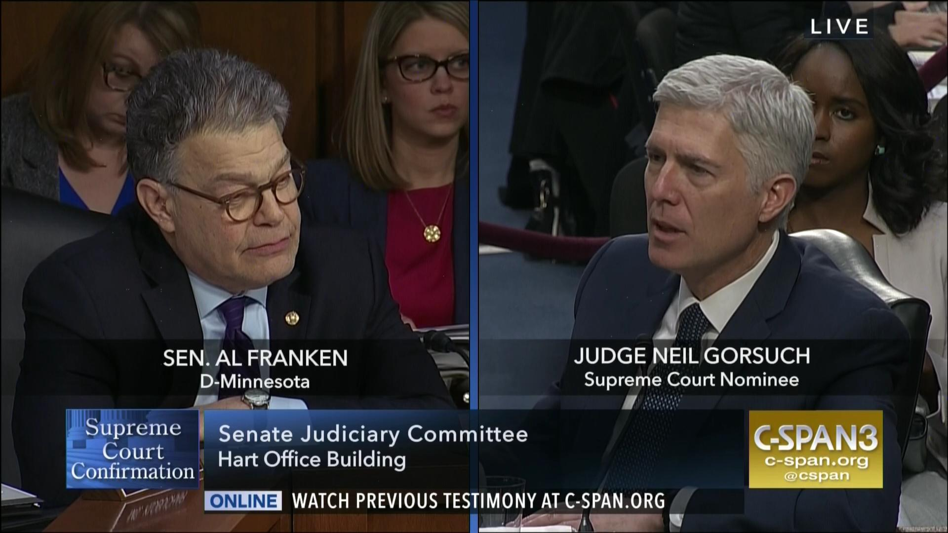 12b112eb36 Al Franken Questions Neil Gorsuch
