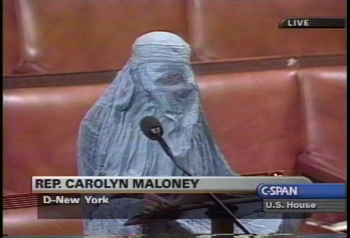 User Clip: Rep. Carolyn Maloney wears burka on House floor (discussing  Taliban treatment of Afghan women) | C-SPAN.org