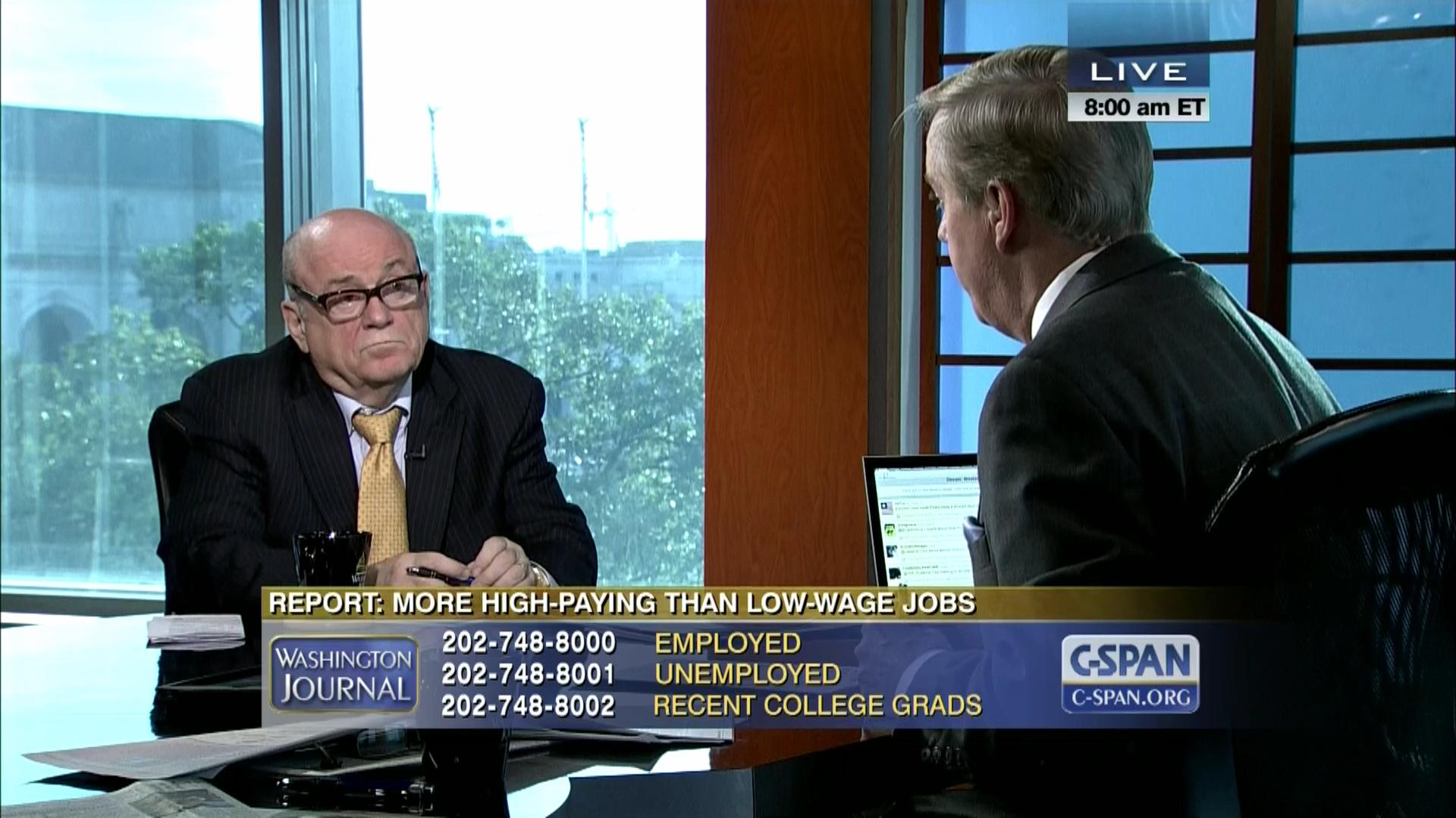 washington journal anthony carnevale low wage video c span org