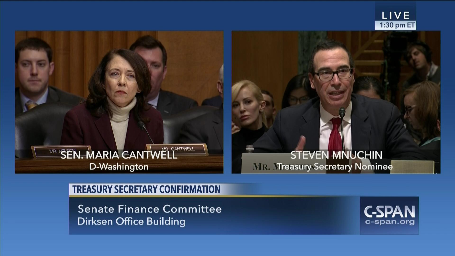 treasury secretary nominee steven mnuchin testifies confirmation