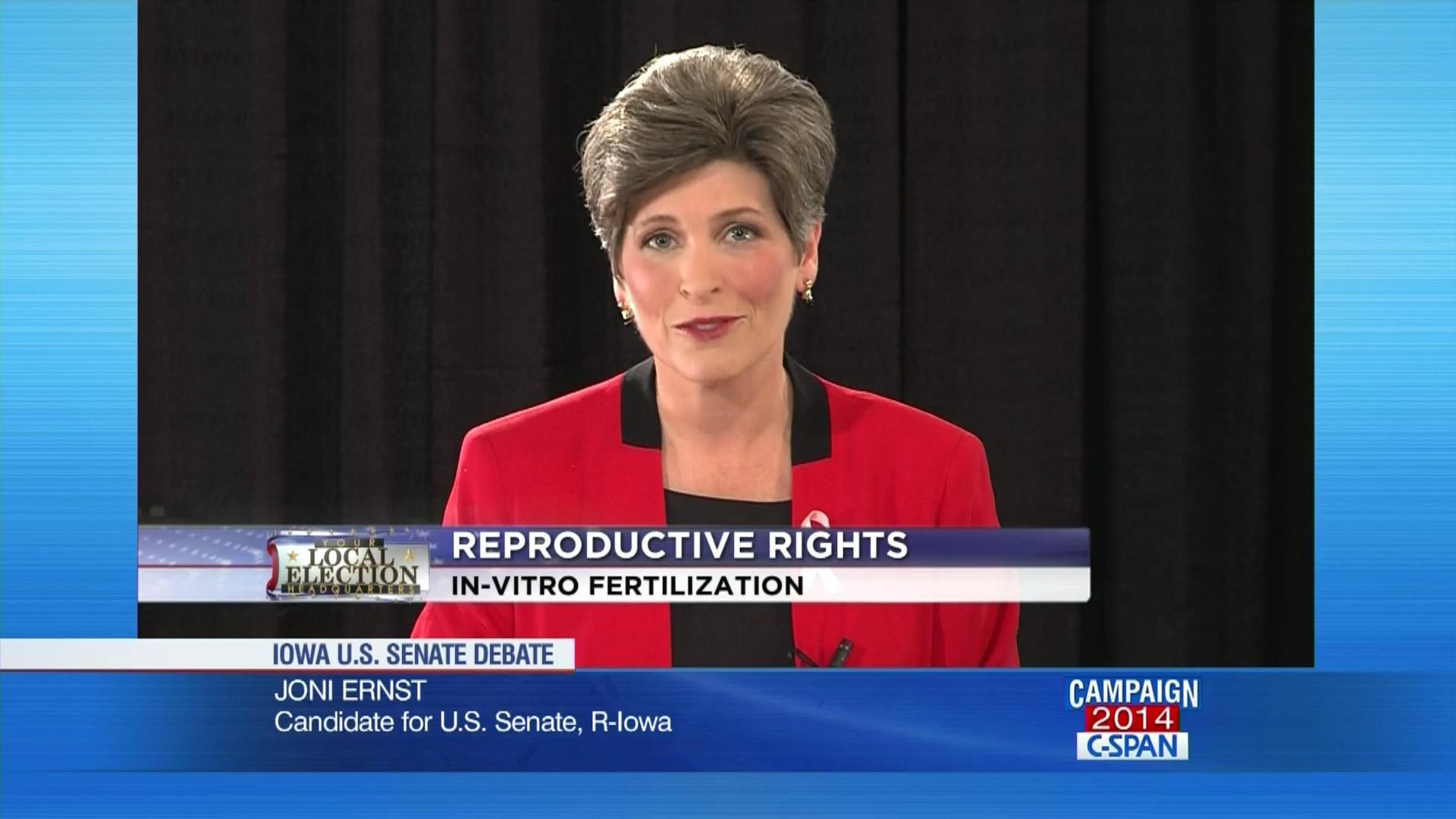 Joni Ernst v Bruce Braley on Life and Abortion - Iowa Senate Debate - Oct.