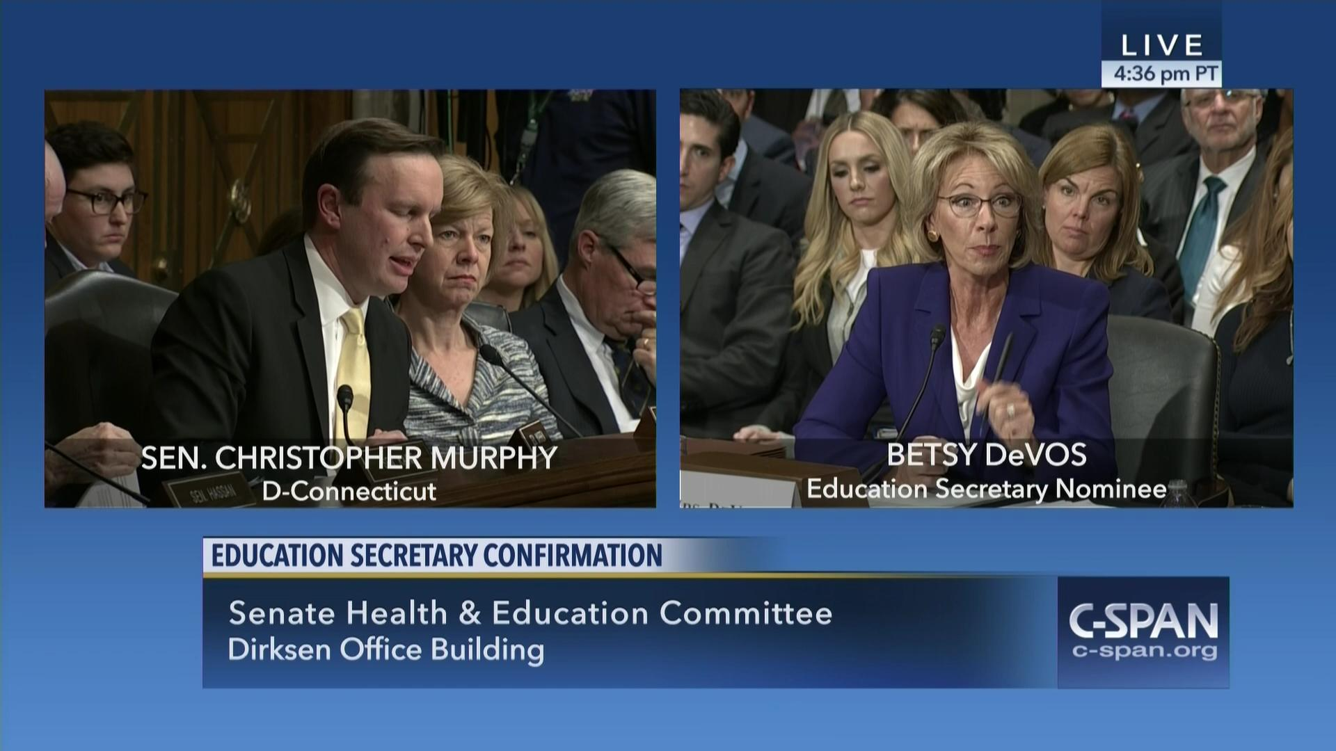 Betsy Devos Nomination Chilling >> Exchange Between Sen Chris Murphy D Ct And Betsy Devos On Guns In Schools