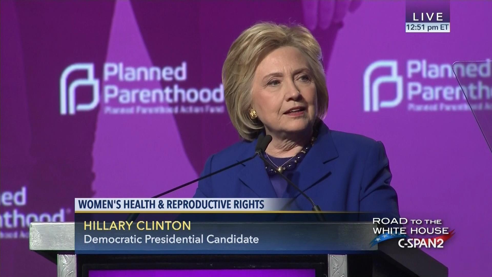 Hillary Clinton Addresses Planned Parenthood Action Fund Jun 10