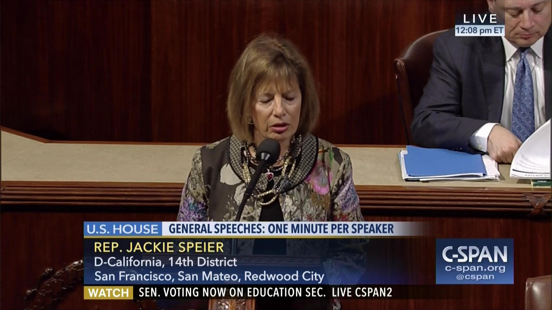 Congresswoman Jackie Speier speaks out against Trump and Putin Bromance