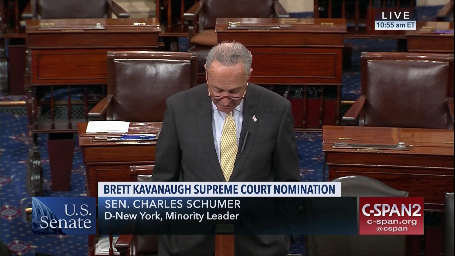8bbe346fe Schumer Calls On Judiciary Committee Delay Kavanaugh | C-SPAN.org